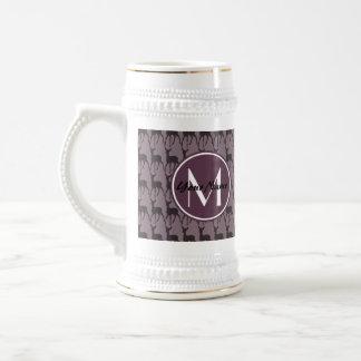 Monogrammed Purple Violet Deer Personalized | N2 Beer Stein