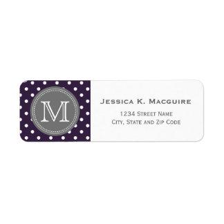 Monogrammed Purple White Polka Dot Pattern Return Address Label