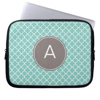 Monogrammed Quatrefoil Pattern Computer Sleeve
