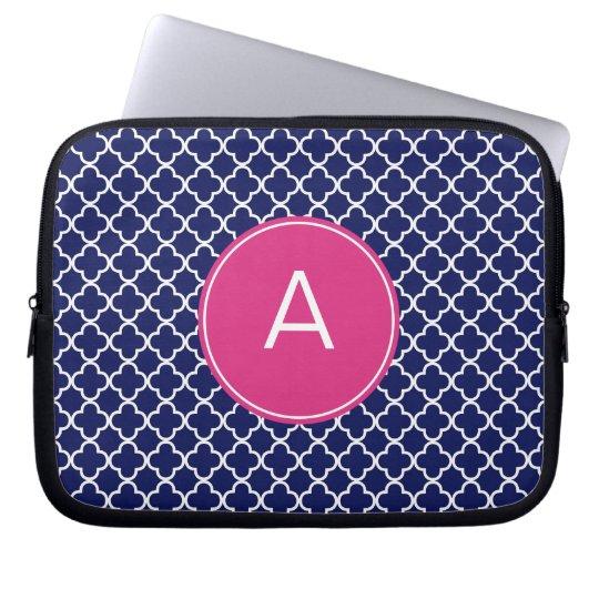 Monogrammed Quatrefoil Pattern Computer Sleeves