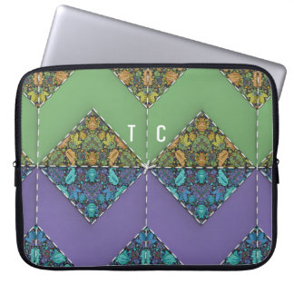 Monogrammed Quilt in Purple & Green Chevrons Laptop Sleeve