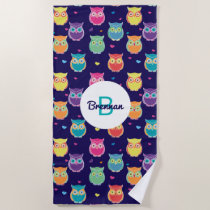 Monogrammed Rainbow Blue Owl Pattern Girls Animal Beach Towel