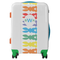 Monogrammed Rainbow Bunny Rabbits Tail Silhouette Luggage
