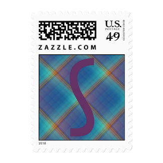 Monogrammed Rainbow Squares Postage Stamps