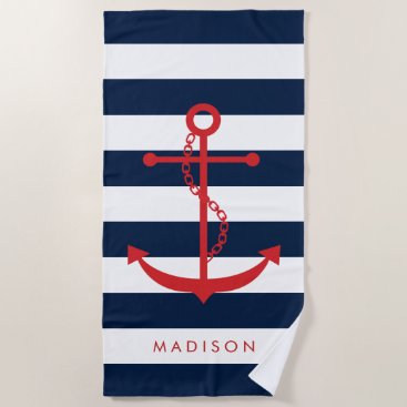 Beach Themed Monogrammed Red Anchor on Navy Stripes Beach Towel