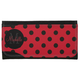 Monogrammed Red and Black Polka Dot Wallet