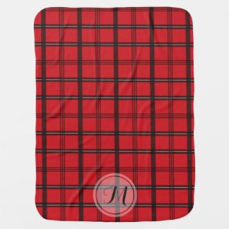 Monogrammed Red and Black Tartan Plaid Swaddle Blanket