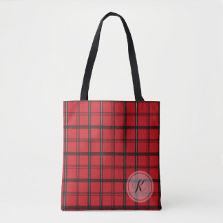 Monogrammed Red and Black Tartan Plaid Tote Bag