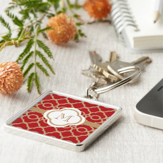 Monogrammed Red and Gold Moroccan Silver-Colored Square Keychain