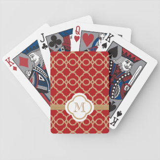 Monogrammed Red and Gold Moroccan Bicycle Poker Deck