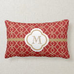 Monogrammed Red and Gold Moroccan Throw Pillow