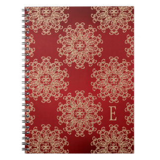 Monogrammed Red and Gold Notebook Journal