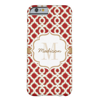 Monogrammed Red and Gold Quatrefoil Barely There iPhone 6 Case