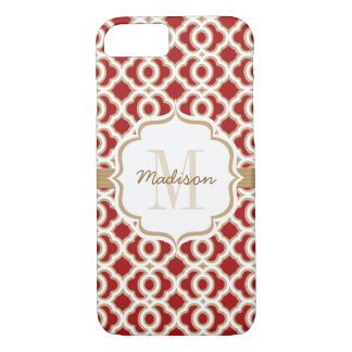 Monogrammed Red and Gold Quatrefoil iPhone 7 Case