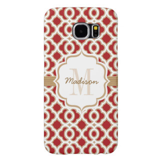 Monogrammed Red and Gold Quatrefoil Samsung Galaxy S6 Cases