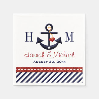 Monogrammed Red and Navy Anchor Nautical Wedding Standard Cocktail Napkin