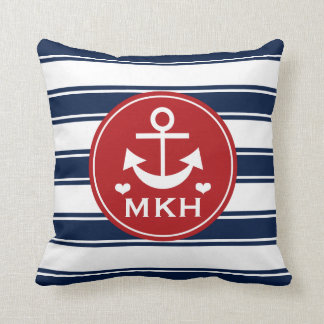 Monogrammed Red and Navy Blue Anchor Throw Pillow