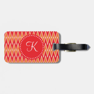 Monogrammed Red and Orange Chevorn Pattern Bag Tags