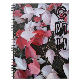 Monogrammed Red and Pink Leaves Notebook