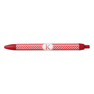 Monogrammed Red and White Chevron Pattern Black Ink Pen