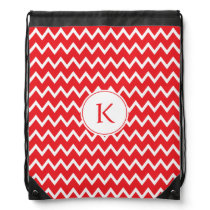 Monogrammed Red and White Chevron Pattern Drawstring Backpack