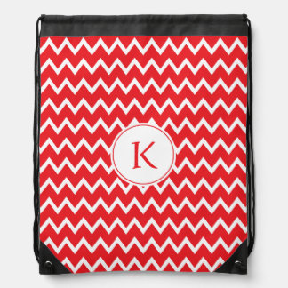 Monogrammed Red and White Chevron Pattern Drawstring Bags