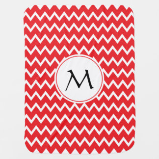 Monogrammed Red and White Chevron Pattern Receiving Blankets