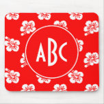 Monogrammed Red and White Hawaiian Pattern Mouse Pads