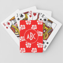 Monogrammed Red and White Hawaiian Pattern Playing Cards