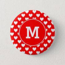 Monogrammed Red and White Heart Pattern Pinback Button