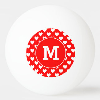 Monogrammed Red and White Heart Pattern Ping-Pong Ball