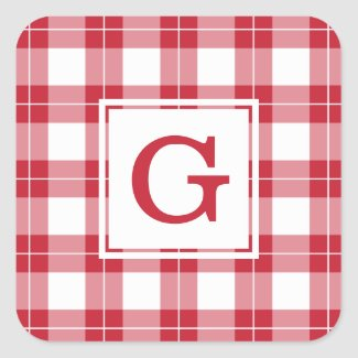 Monogrammed Red and White Plaid Pattern Square Sticker