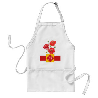 Monogrammed Red and Yellow Poppy Garden Adult Apron