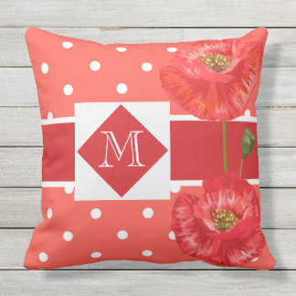Monogrammed Red and Yellow Poppy Garden Outdoor Pillow