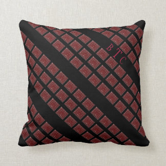 Monogrammed Red Bandana Blocks on Black Throw Pillow
