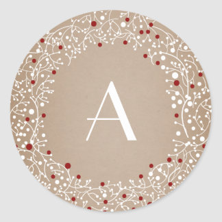 Monogrammed Red Berries Wreath Christmas Holiday Classic Round Sticker