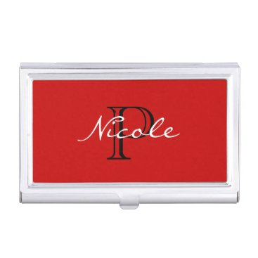 Professional Business Monogrammed ~ Red Black and White Case For Business Cards