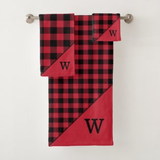 Monogrammed Red Black Buffalo Plaid Pattern Bath Towel Set