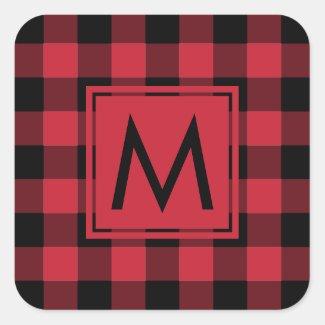 Monogrammed Red Black Buffalo Plaid Pattern Square Sticker