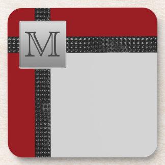 Monogrammed Red Black Gray Coaster Set (6)