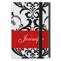 Monogrammed Red Black White Swirls Damask Cover For iPad Mini