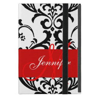 Monogrammed Red Black White Swirls Damask iPad Mini Covers