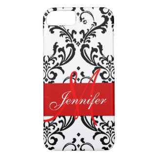 Monogrammed Red Black White Swirls Damask iPhone 8/7 Case