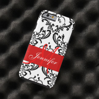 Monogrammed Red Black White Swirls Damask Tough iPhone 6 Case