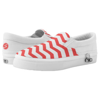 Monogrammed Red Chevron Printed Shoes