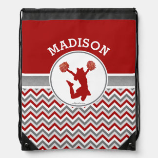 Monogrammed Red Chevron Stripes Pom or Cheer Drawstring Bag