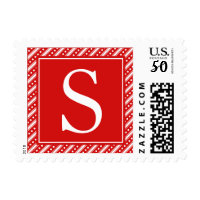 Monogrammed Red Christmas Holiday Postage Stamps