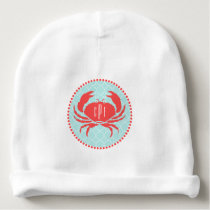 Monogrammed Red Crab   Quatrefoil Baby Beanie