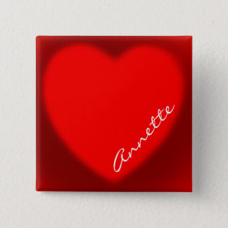Monogrammed Red Heart Name Tag Pin-back Button