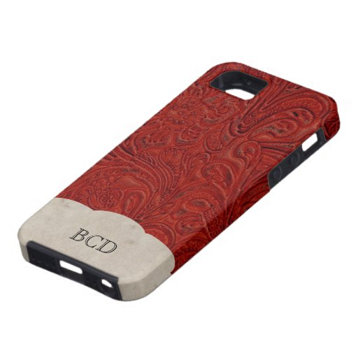 Monogrammed Red Leather Look Rustic Country iPhone 5 Case